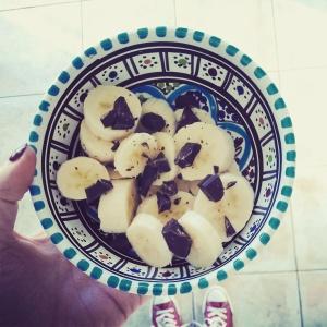 Banaan met zwarte chocolade